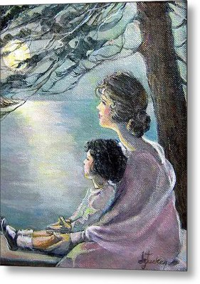 Watching The Moon Metal Print by Donna Tucker