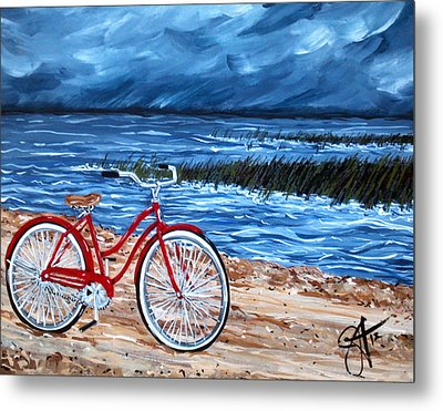 Metal Print featuring the painting Watching The Storm by Jackie Carpenter