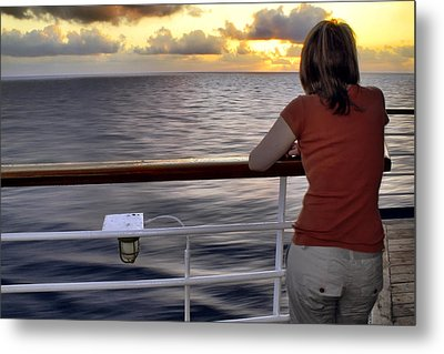 Watching The Sunrise At Sea Metal Print by Jason Politte
