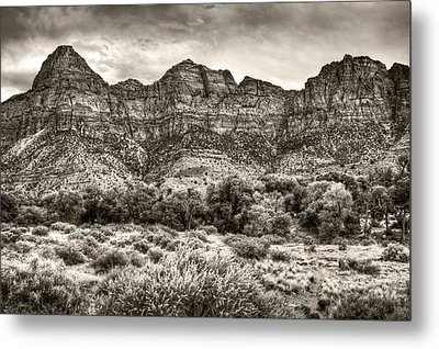 Metal Print featuring the photograph Watchman Trail In Sepia - Zion by Tammy Wetzel