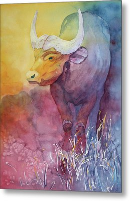 Metal Print featuring the painting Water Buffalo by Nancy Jolley