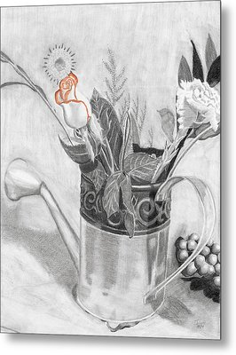 Water Can Bouquet Metal Print by Susan Schmitz