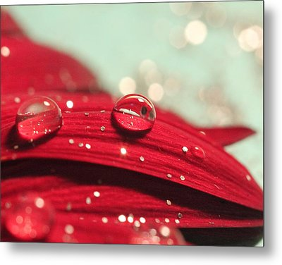 Water Drops And Glitter Metal Print by Angela Murdock
