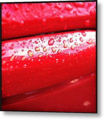 Water Drops On Red Car Paint Metal Print by Matthias Hauser