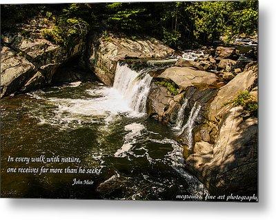 Water Fall With John Muir Quote Metal Print