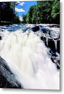 Water Flowing From Rocks In A Forest Metal Print