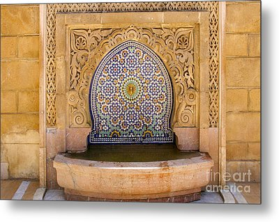 Metal Print featuring the photograph Water Fountain Mausoleum Of Mohammed V Opposite Hassan Tower Rabat Morocco  by Ralph A  Ledergerber-Photography