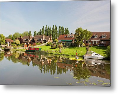 Water Front Houses In Barrow Upon Soar Metal Print