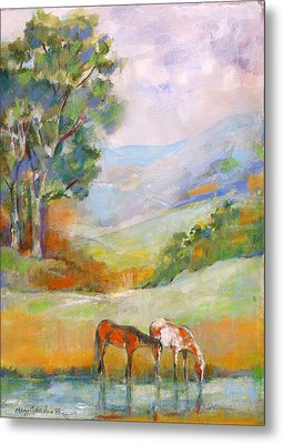 Metal Print featuring the painting Water Hole by Mary Armstrong