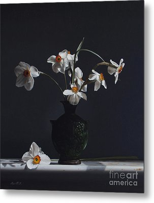 Water Jug With Narcissus   Metal Print