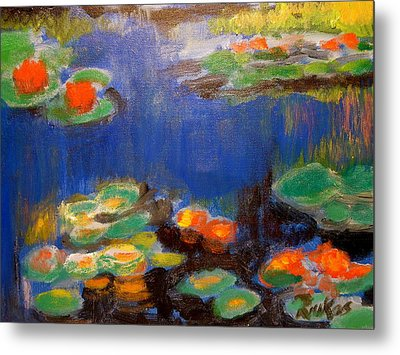 Metal Print featuring the mixed media Water Lilies  After Monet by Diana Riukas