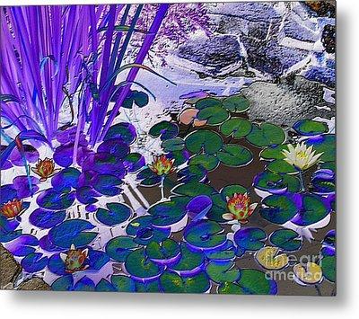 Water Lilies Blue Metal Print