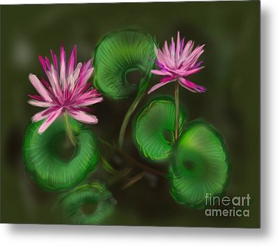 Metal Print featuring the digital art Water Lilies by Christine Fournier