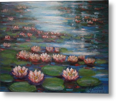 Metal Print featuring the painting Water Lilies In Monet Garden by Laila Awad Jamaleldin
