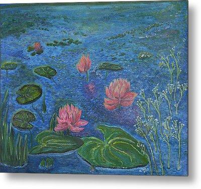 Water Lilies Lounge 2 Metal Print by Felicia Tica