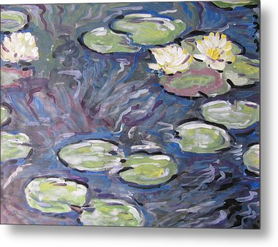 Metal Print featuring the painting Water Lilies by Vikram Singh