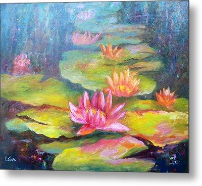 Water Lilly Pond Metal Print by Carolyn Jarvis