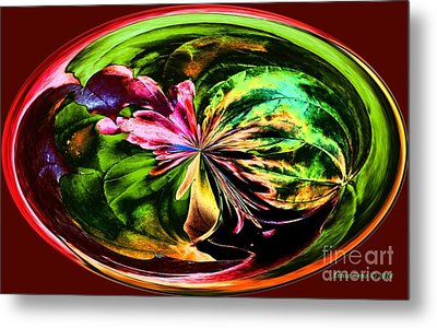 Metal Print featuring the digital art Water Lily Abstract Art by Annie Zeno