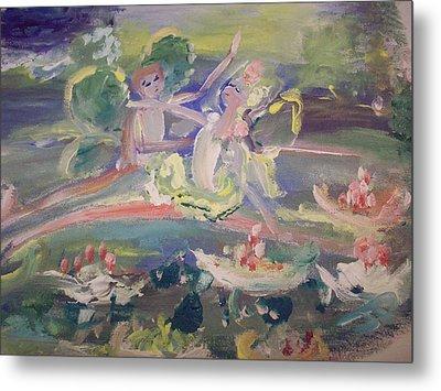 Water Lily Fairies Metal Print by Judith Desrosiers