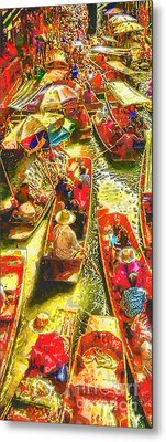 Water Market Metal Print by Mo T