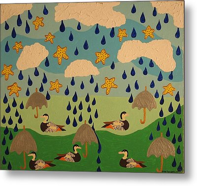 Metal Print featuring the painting Water Off A Duck's Umbrella by Erika Chamberlin