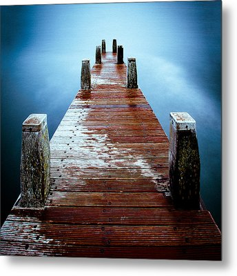 Water On The Jetty Metal Print by Dave Bowman