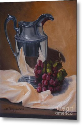 Water Pitcher With Fruit Metal Print by Lisa Phillips Owens