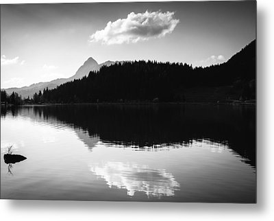 Water Reflection Black And White Metal Print