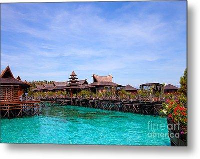 Water Village Borneo Malaysia Metal Print by Fototrav Print