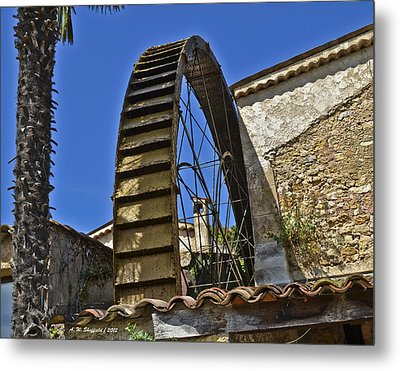 Metal Print featuring the photograph Water Wheel At Moulin A Huile Michel by Allen Sheffield