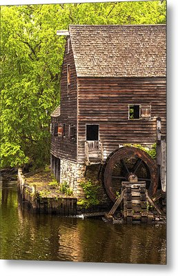 Metal Print featuring the photograph Water Wheel At Philipsburg Manor Mill House by Jerry Cowart