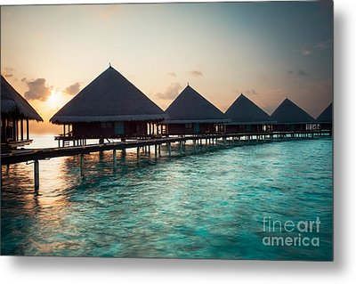 Waterbungalows At Sunset Metal Print