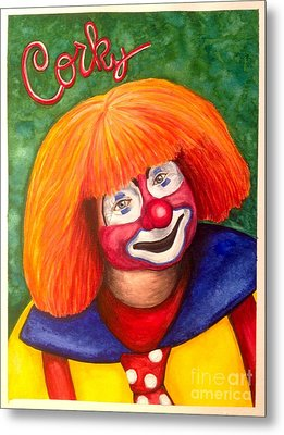 Watercolor Clown #18 Corky Dozier Metal Print by Patty Vicknair