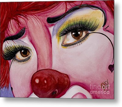 Watercolor Clown #2 Payasa Corazon Alegre Metal Print by Patty Vicknair