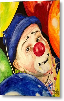 Watercolor Clown #5 Sean Carlock Metal Print by Patty Vicknair