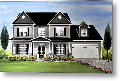 Watercolor Home Portrait 2 Metal Print