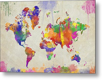 Watercolor Impression World Map Metal Print by Zaira Dzhaubaeva