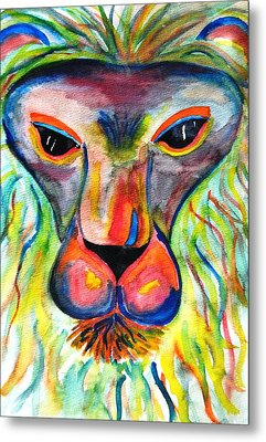 Watercolor Lion Metal Print