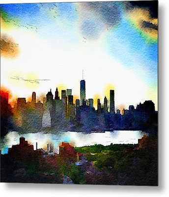 Watercolor Manhattan Metal Print by Natasha Marco
