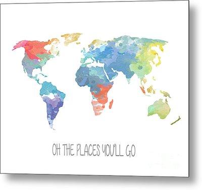 Watercolor Map Metal Print by Jennifer Mecca