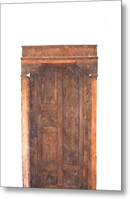 watercolor of antique Moroccan style wooden door on white wall Metal Print