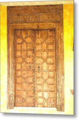 watercolor of antique Moroccan style wooden door on yellow wall Metal Print