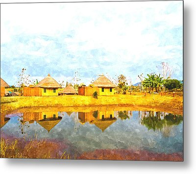 watercolor of bamboo cottages and and thier reflections in pond in Nakorn Ratchasima in Thailand Metal Print
