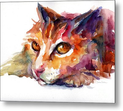 Watercolor Orange Tubby Cat Metal Print by Svetlana Novikova