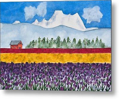 Watercolor Painting Landscape Of Skagit Valley Tulip Fields Art Metal Print by Valerie Garner
