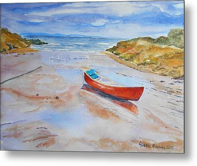 Watercolor Painting Of Red Boat Metal Print