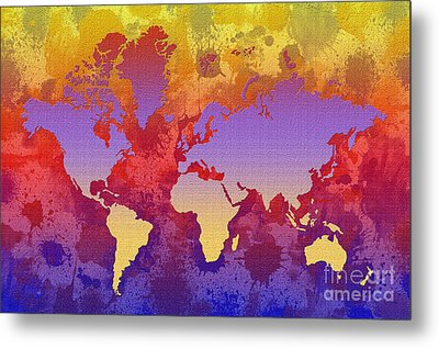 Watercolor Splashes World Map On Canvas Metal Print by Zaira Dzhaubaeva