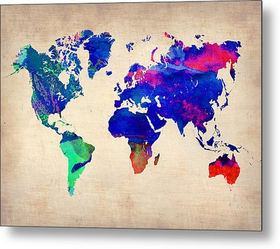 Watercolor World Map 4 Metal Print by Naxart Studio
