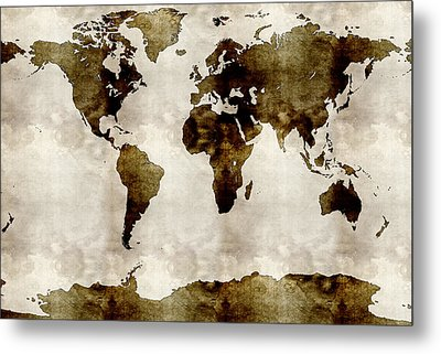 Watercolor World Map Metal Print by Celestial Images
