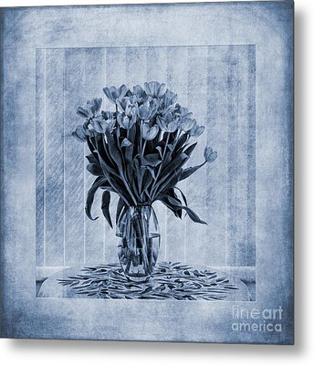 Watercolour Tulips In Blue Metal Print